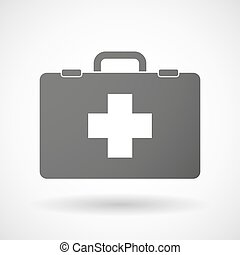 Isolated briefcase icon with a pharmacy sign - Illustration...