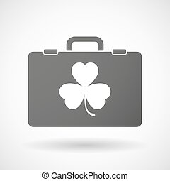 Isolated briefcase icon with a clover