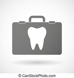 Isolated briefcase icon with a tooth