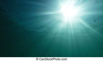 Sun Rays Filtering Through Ocean Water from a Submarine...