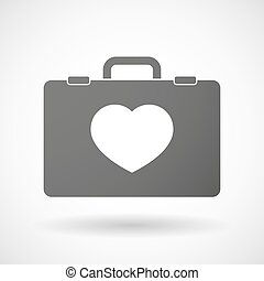Isolated briefcase icon with a heart