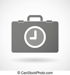 Isolated briefcase icon with a clock