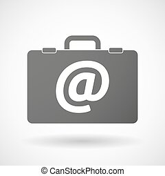 Isolated briefcase icon with an at sign