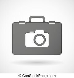 Isolated briefcase icon with a photo camera