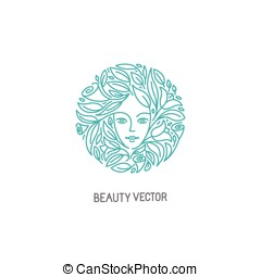 Vector logo design template in trendy linear style with...
