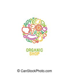 Design template with fruit and vegetable icons in trendy...