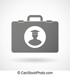 Isolated briefcase icon with a student - Illustration of an...
