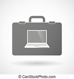 Isolated briefcase icon with a laptop