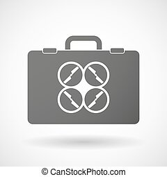 Isolated briefcase icon with a drone - Illustration of an...