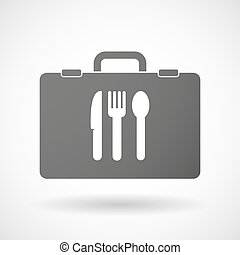 Isolated briefcase icon with cutlery