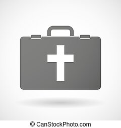 Isolated briefcase icon with a christian cross -...