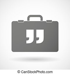 Isolated briefcase icon with  quotes