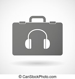 Isolated briefcase icon with a earphones
