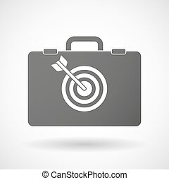 Isolated briefcase icon with a dart board - Illustration of...