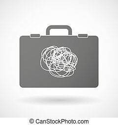 Isolated briefcase icon with a doodle