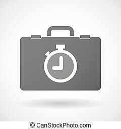 Isolated briefcase icon with a timer