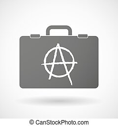 Isolated briefcase icon with an anarchy sign - Illustration...