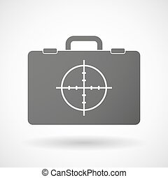 Isolated briefcase icon with a crosshair - Illustration of...