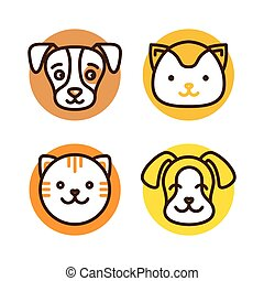 Pet linear icons - logo design template for pet shops,...