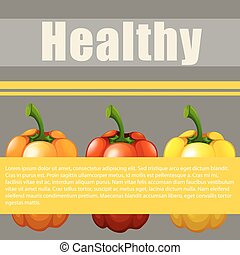 Healthy sign with fresh bell pepper illustration