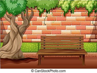 Outdoor sitting area on the walkway illustration