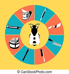 Tools infographics-3 - Vector tool kit of the beekeeper....