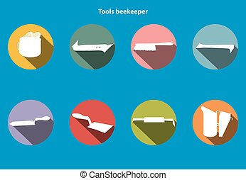 Tools infographics-4 - Vector tool kit of the beekeeper....