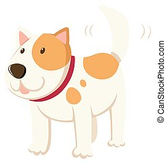 Little dog wagging the tail illustration