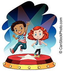 Boy and girl performing on stage illustration