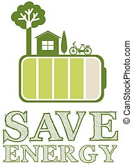 Save energy poster with green design illustration