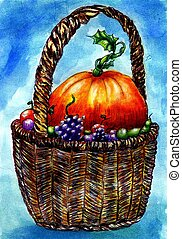 Wicker Basket Sketch - Hand drawn illustration of a wicker...