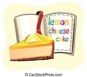 Lemon cheesecake and a book illustration