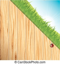 Wood and grass background