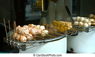 Fish Balls and Other Traditional Asian Street Foods at a...