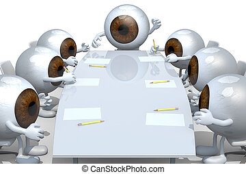 many eyeballs meeting around the table and follow their boss