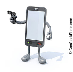 smartphone with arms legs and gun on hand, 3d illustration
