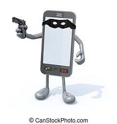 smartphone bandit with mask - smartphone with arms legs gun...
