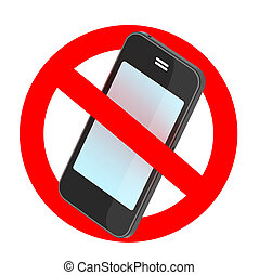 no smartphone traffic sign, 3d illustration