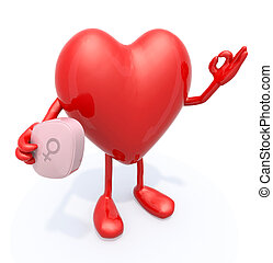 heart with arms and legs and big pink pill on hand, 3d...