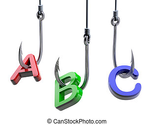 """letters """"A,B,C"""" caughts on a fish hooks"""