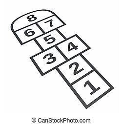 Hopscotch. Isolated on white background, 3d illustration