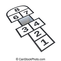 Hopscotch with hole on number 5, isolated on white...