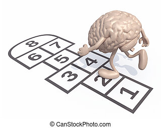 Human brain with arms and legs play hopscotch Isolated on...