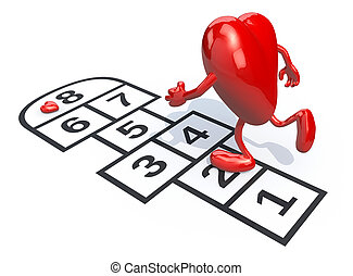 Heart with arms and legs playing hopscotch. Isolated on...