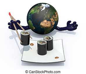 planet earth eating sushi with chopsticks, 3d illustration...