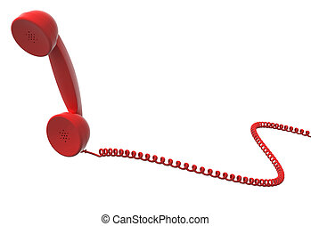 red retro telephone handset and cable, isolated, white...