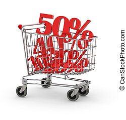 Shopping cart full of percentage, 3d illustration isolated...