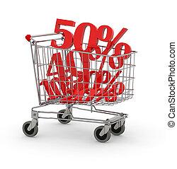 shopping, carreta, cheio, de, porcentagem,