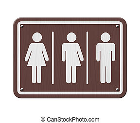 Transgender Sign, Brown and White Sign with a woman, male...
