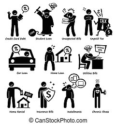 Personal Liabilities Pictogram - Set of pictogram...